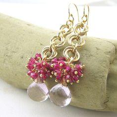 Gemstone Cluster Earrings Chainmail Flower by JenniferCasady