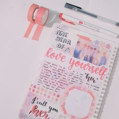 ♡ I'm ramengukk, I'm new to Kpop journaling and it's been a month since I started! I decided to make a kpop journal with me video so I di. Bullet Journal 2019, Bullet Journal Notebook, Bullet Journal School, Bullet Journal Inspiration, Scrapbook Journal, Journal Layout, Journal Pages, Journal Ideas, Journals