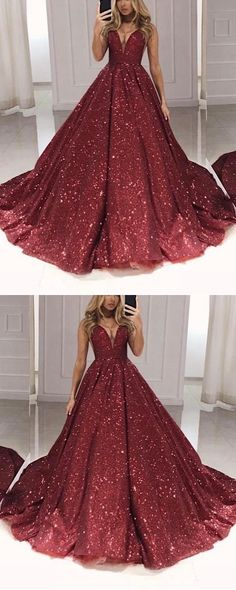 burgundy ball gown prom quinceanera dresses 2020 sparkle sequin v neck Burgundy Gown, Burgundy Wedding, Quince Dresses, Party Dresses, Wedding Dresses, Puffy Skirt, Ball Gowns Prom, Beautiful Prom Dresses, Quinceanera Dresses