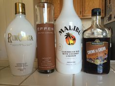 Girl Scout Samoa- 1 shot salted caramel, 1 shot Malibu rum, 1/2 shot rum chata, 1/2 shot creme de cacao. Shake w/ ice, pour into glass and add a splash of heavy cream. Would be prettier with a caramel drizzled glass and coconut rim but I didn't have those ;) enjoy!!
