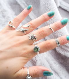 Silver Stack from www.boholake.co.uk // Boho Lake // 925 // hippie // jewelry // sterling silver // bohemian jewellery // gypsy jewels // boho chic // stacking rings // midi ring // abalone shell