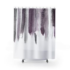 Plum Purple Watercolor Top Shower Curtain – Metro Shower Curtains Plum Purple, Deep Purple, Pure White Background, Purple Color Palettes, Purple Bathrooms, Bath Girls, Fabric Shower Curtains, Shades Of Grey, Contemporary Design