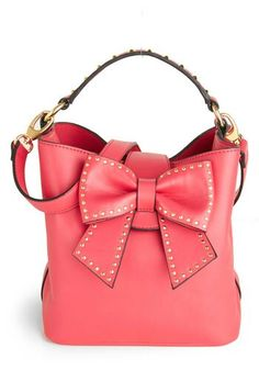 #PinkPurse.  Architectural shape.  I love #Betsy Johnson, Bow purse....I want it! Pink Leather rocks!
