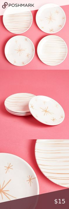 "ODEME Rose Gold Melamine Dessert Plates - Set of 4 6"" diameter.  Gently used.  Storage box also available odeme Kitchen"