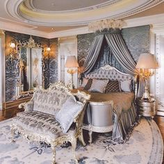 Opulent Master Suite with oval coffered ceiling