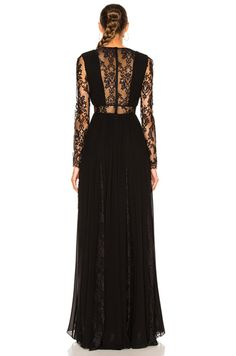 Georgette & Lace V Neck Gown