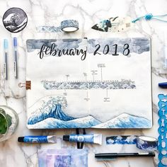 This from is truly a masterpiece. ・・・ Here's my monthly calendar with the wave theme! I made a ton of mistakes so I ended up just using washi for the timeline to cover everything up turned out ok though! Bullet Journal Planner, February Bullet Journal, Bullet Journal Monthly Spread, Bullet Journal Junkies, Bullet Journal Themes, Bullet Journal Inspo, Bullet Journal Layout, Bullet Journals, Journal Covers