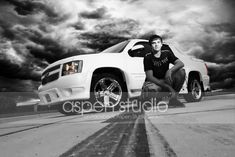 Senior photos with truck | Great pose with a truck. Aspen Studio