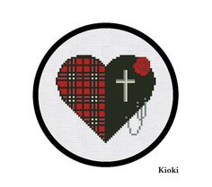 Cross Stitch Pattern Goth Heart Instant Download by TinyNeedle, $4.50