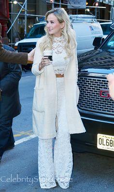 Lauren Bushnell Looks Romantic In A White Lace Pant Set