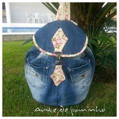 Mochila de calça jeans passo a passo com Arte de Paninho