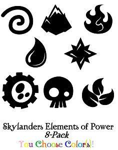 Skylanders Spyro Elements of Power 8 Pack Sticker/Decal Set Boys Room Any Color