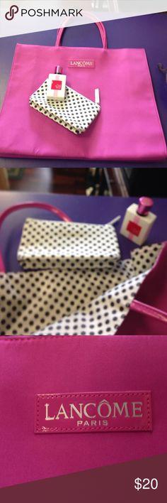 Lancome pink purse cosmetic bag perfume bundle New pink lancome rite cosmetic bag with free perfumr bundle polka diy lining 3 piece set Lancome Bags Totes