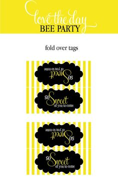 Bee Party PRINTABLE Fold Over Tags INSTANT DOWNLOAD by lovetheday