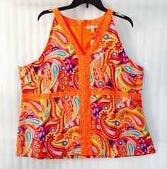 NWT Orange Pink White Paisley Lined Tunic Blouse Plus Boho Top 20/22/2X Casual #AppraisalWoman #BlouseShirtTunicbohoTop #casual
