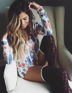 #winter #fashion /  Printed Playsuit + Burgundy Socks