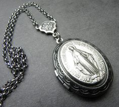 Miraculous Medal Antique French Silver Holy by 12StarsVintage
