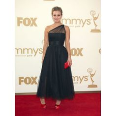 Kaley Cuoco Black One Shoulder Prom Dress 2011 Emmy Awards Red Carpet