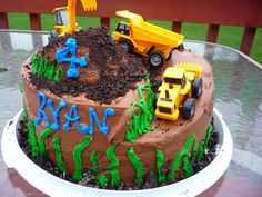 Construction Site birthday cake! Its one mound of dirty goodness! Inside is striped from another Pinterest Pinner!