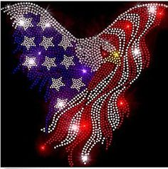 Embellishments & Finishes Eagle Of July 11 X 11 Inches Rhinestone Iron On Transfer & Garden Mickey Minnie Mouse, Fourth Of July Crafts For Kids, Patriotic Images, Homecoming Mums, Rhinestone Transfers, Patriotic Decorations, Iron On Transfer, Dot Painting, American Flag