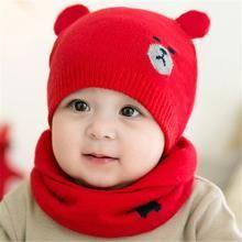 6764ede7dee4 Winter Baby Hat Scarf Set Dog Style Woolen Cap Muffler for Infant ...