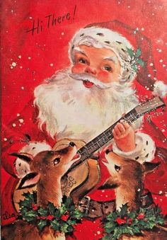 VINTAGE MID CENTURY USED CHRISTMAS CARD SANTA PLAYS GUITAR WITH HIS REINDEER