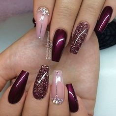 Best Ideas Birthday Nails Winter Nailart The best new nail polish colors and tr Burgundy Nail Designs, Pretty Nail Designs, Burgundy Nails, Winter Nail Designs, Burgundy Colour, Red Nail Designs, Elegant Designs, Red Burgundy, Birthday Nail Designs