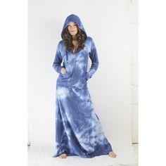 Love Tanjane Sweat Maxi Skirt / Tube Dress in Blue Tie Dye