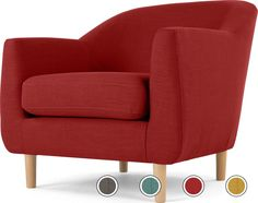 Tubby Armchair, Postbox Red from Made.com. Makes a stylish, versatile addition to smaller spaces, living rooms and bedrooms - mix and match with col..