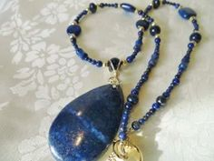 Stunning necklace, Pendant necklace, Lapis necklace, handmade necklace by JosiannesJewelry for $35.00