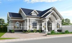 BIỆT THỰ 1 TẦNG MÃ SỐ BT1-052 - Công ty cổ phần tư vấn kiến trúc xây dựng Nhà Phương Đông Beautiful House Plans, Modern House Plans, Modern House Design, Beautiful Homes, Classic House Exterior, Dream House Exterior, House Architecture Styles, Small House Exteriors, Architectural House Plans