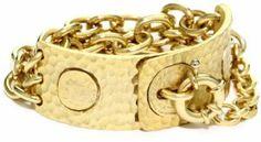 "TAT2 Designs ""Pavia"" Small Hammered Gold Lock and Chain Cuff Bracelet TAT2 Designs. $92.20"