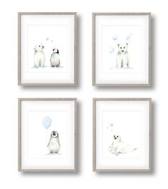 •• SET OF FOUR ARCTIC ANIMAL PRINTS •• This set of nursery art includes the following four prints from my original acrylic paintings for the Arctic Friends Collection. **Frames and mats are not included Penguin and Polar Bear with Stars Penguin with Balloon Polar Bear with Bubbles Seal with Stars -------------------------------------------------------------------------------- •• YOUR CHOICE OF ACCENT COLOR •• The accents are available in other colors. To make you selection, please check…
