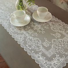 Crochet Puff Flower Behrens Table Runner - Featuring their most delicate fine gauge lace with extraordinary detailing, this Table Runner dresses any surface with timeless sophistication. Crochet Table Runner Pattern, Crochet Doily Patterns, Crochet Tablecloth, Crochet Embellishments, Table Runner Size, Lace Table Runners, Crochet Puff Flower, Crochet Flowers, Easy Crochet Projects