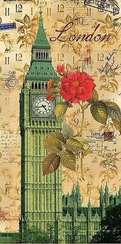 Postal from London Vintage Cards, Vintage Paper, Vintage Images, Decoupage Vintage, Decoupage Paper, Big Ben London, Scrapbook Printables, Free Printables, Vintage Travel Posters