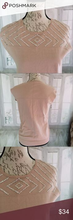 """Reba Large Taupe Sleeveless Beaded Women's Sweater 23"""" long, 18.5"""" bust, used but good condition. Light pilling. 75% cotton and 25% nylon. Dry clean only. Reba Sweaters"""