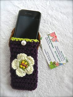 Cell phone cover crochet purple green very by mermaiddesignsstore, $12.50