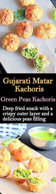 Gujarati Matar Kachoris, deep fried snack with a delicious green peas filling..