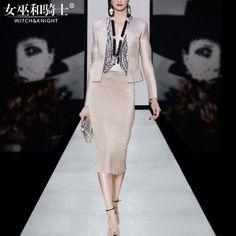 Primavera 2017 nuevo gama alta moda carrera mujeres temperamento chaquetas bolsas cadera faldas twin set las mujeres