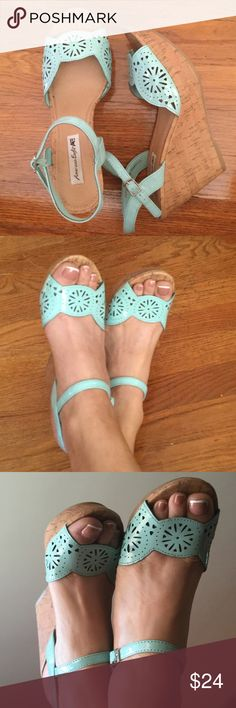 AMERICAN EAGLE mint wedges Size 7/7.5...I am a narrow 7.5 and they fit absolutely perfect..very light not clunky heavy like some...I honestly literally wore these once for a few hours.. American Eagle Outfitters Shoes