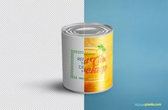 """""""Highly detailed free food can mock-up to showcase your packaging, branding and product labeling designs. Featuring fully customizable label design, shadow, glow effect and background image. …"""