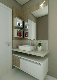 Most Popular Small Bathroom Remodel Ideas on a Budget in 2018 This beautiful look was created with cool colors, and a change of layout. Bathroom Layout, Bathroom Interior, Small Bathroom, Kid Bathrooms, Modern Bathrooms, Kitchen Small, Bathroom Cabinets, Bathroom Designs, Bad Inspiration