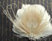 Phoebe - Ivory feather bridal hair fascinator with bleached ivory peacock feather accent, Rhinestone center