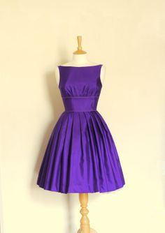Royal Purple Grosgrain Tiffany Prom Dress - Made by Dig For Victory - FREE SHIPPING worldwide