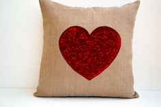 Amore Beaute Handmade Custom Ivory White Burlap Heart Pillow Cover with Passionate Red Heart Sequins- Decorative Cushion Cover- Embroidered Decorative Throw Pillow Red Heart Pillows Decorative Cushions, Decorative Pillow Covers, Throw Pillow Covers, Pillow Cases, Cushion Covers, Burlap Fabric, Burlap Pillows, Sequin Pillow, Heart Pillow