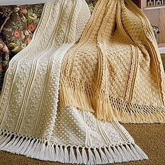 ❤❤❤ LONDONDERRY AND DUBLIN AFGHAN ❤❤❤ Fisherman Crochet -  patterns are made up of stitches you already know, worked in different techniques to become unique patterns. The Londonderry Afghan uses these pattern stitches: Fisherman Popcorn, Low Ridge Front, Popcorn Diamond, and Knurl. The Dublin Afghan uses High Ridge Front, Aran, Knurl, and Basketweave. - Advance ~ Crochet Afghan / Blanket / Throw ~ Pattern