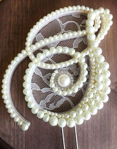 Ivory Pearls and Lace Cake Topper Monogram by ShannonLeeAtelier