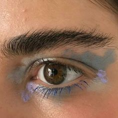 I'm in love! This photo is perfect! I adore these gorgeous blue colors... And light purple...So beautiful, so favorite colors! I adore black and bushy eyebrows and dark brown eyes! This eye has an ebony color. It's fantastic! So inspiring photo!