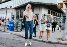 Street Style: New York Fashion Week Spring 2016 Ready-to-Wear |Sarah Harris in Louis Vuitton shoes Street Style 2016, Looks Street Style, Celine, Khadra, T Shirt And Jeans, Denim Jeans, New York Street, Fashion Pictures, Timeless Fashion