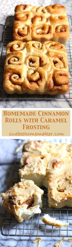 These homemade Cinnamon Rolls combine the softest dough with a sugar, cinnamon, and butter mixture, and are topped with a caramel frosting!